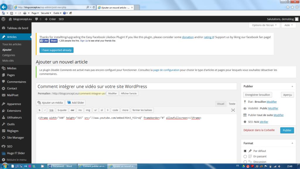 2 Intégrer une vidéo sur blog WordPress